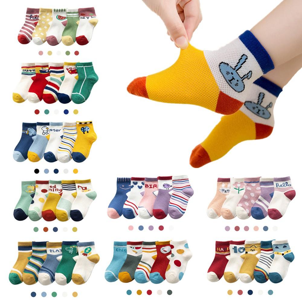 5入組 兒童襪子童襪春夏卡通動物寶寶嬰兒襪子網眼船襪卡通兒童襪子男童襪子女童襪子