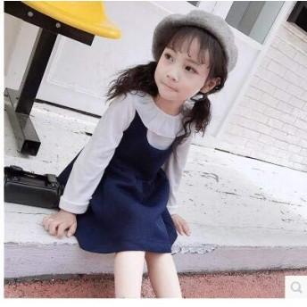 キッズファッション 秋 セットアップ 可愛いシャツ+無袖ワンピース