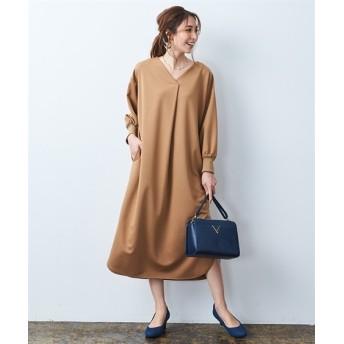 強撚ポンチ前タックドルマンワンピース (ワンピース)Dress