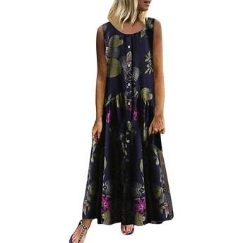 AMAZACER 女性英国のカジュアルプラスサイズボヘミアンOネック花のためのドレスはヴィンテージノースリーブロングマキシドレスを印刷します (Color : Navy, Size : XL)