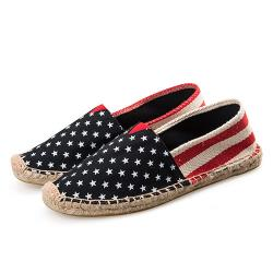 【Alice】星星圖後粗紅白條歐美外銷草編休閒帆布鞋