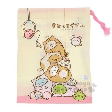 〔小禮堂〕角落生物 日製棉質束口袋《米.貓裝.疊疊樂》牙刷杯用