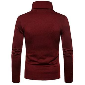 KNlang 冬のメンズカジュアルタートルネックソリッドカラーのセータースリムニットプルオーバー (色 : Burgundy, サイズ : L)