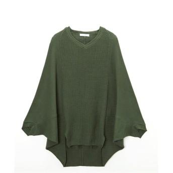 【洗濯機で洗える】編み柄異なるVネックゆったりモモンガ風綿100%ニット (ニット・セーター)(レディース)Knitting, Sweater, 毛衣