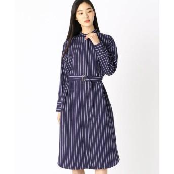COMME CA/コムサ ストライプ ロングシャツドレス ネイビー 9号