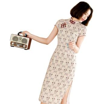 (上海物語)Shanghai Story工場直販 春夏 膝丈 半袖 チャイナドレス レディース 裏あり チーパオ 女性 チャイナ ワンピース 中国ドレス パーティードレス チャイナ服 シフォン 旗袍 サイズ XL 9005 レッド