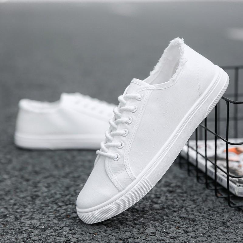 現貨!!夏季男士帆布鞋韓版潮流百搭板鞋休閑小白潮鞋白色布鞋透氣男鞋子