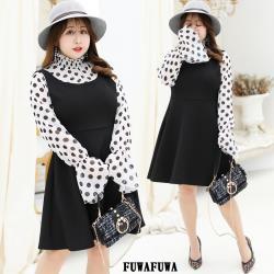 加大尺碼圓點雪紡兩件式長袖洋裝小禮服-FUWAFUWA