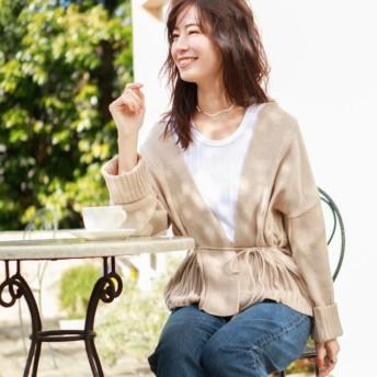 【ル ジュール(LE JOUR)】 【DIRECTED BY SAORI ITO】ローゲージ羽織りカーディガン ベージュ系
