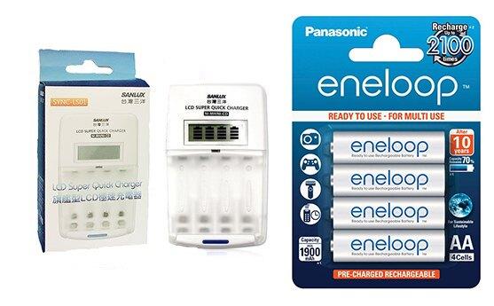 三洋 LCD極速充/放電器 SYNC-LS01搭日本製 Panasonic eneloop 2100次3號AA 4顆送電池盒