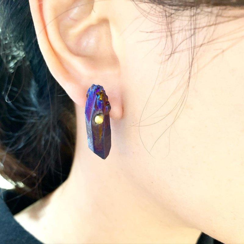 獨家_Big個性酷藍色石英石水晶貼式耳環_可免費修改成夾式耳環