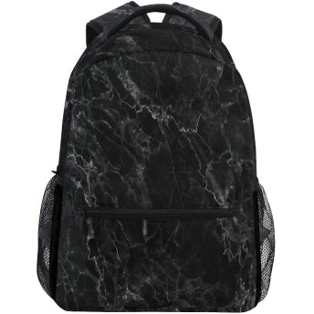 黒と白の大理石石のテクスチャ バックパック多目的大容量ランドセルユニセックスパソコンバッグ学校アウトドアビジネス