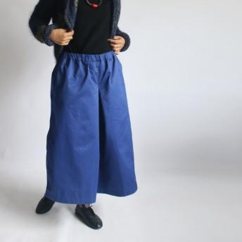 ●SALE●81cm丈 品よく見える気軽に穿ける コットン100% ワイド 袴はかまパンツ ゆったり 幅広 ブルー B16
