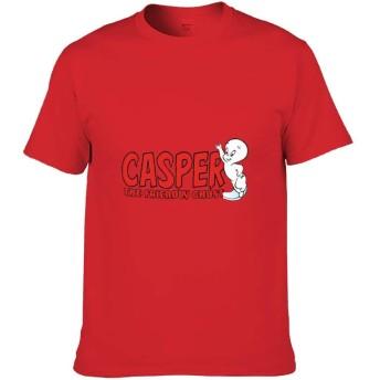 キャスパーフレンドリーな幽霊の赤いロゴ Tシャツ メンズ 半袖 無地 ラウンドネック 大きいサイズ オシャレ トップス