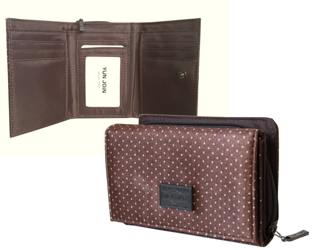 yun join細點蓋頭拉鍊短夾 零錢包後側設計