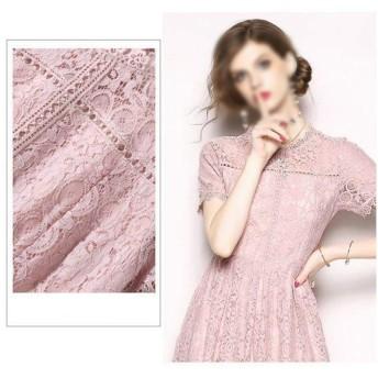 夏のファッションスリムロングレースのドレス (Color : Pink, Size : 2XL)