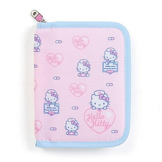 〔小禮堂〕Hello Kitty 尼龍拉鍊多功能證件包《粉藍.護士》票據包.文具包 4901610-88875