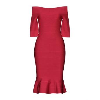 《セール開催中》HERV LGER レディース ミニワンピース&ドレス レッド XXS レーヨン 90% / ナイロン 9% / ポリウレタン 1%