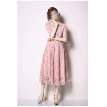 スリムラウンドネックソリッドカラー半袖ステッチレースジョーカーレースマキシ気質ドレス (Color : Pink, Size : M)