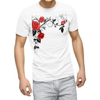 igsticker プリント Tシャツ メンズ 3XL XXXL サイズ size おしゃれ クルーネック 白 ホワイト t-shirt 009125 花 フラワー 赤