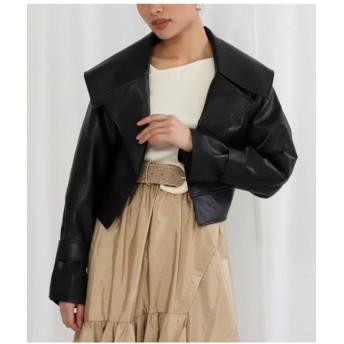 【10%OFF】 アナップ エコレザービッグカラーデザインショートジャケット レディース ブラック F 【ANAP】 【タイムセール開催中】