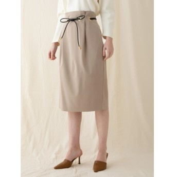 【ソフィラ/sophila】 合皮コード付きタイトスカート