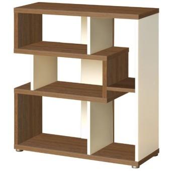 本棚 書棚 シェルフ 棚 インテリアラック デザインシェルフ リエール 幅80cm 高さ85cm ウォールナットブラウン×ホワイト