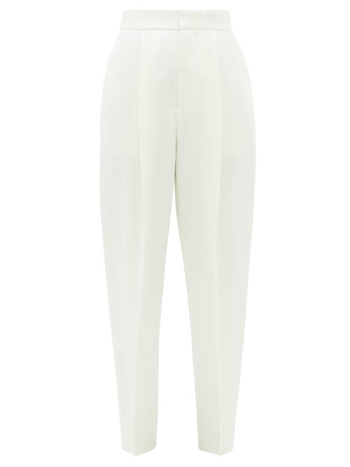 Dundas - High-rise Satin Cigarette Trousers - Womens - Ivory