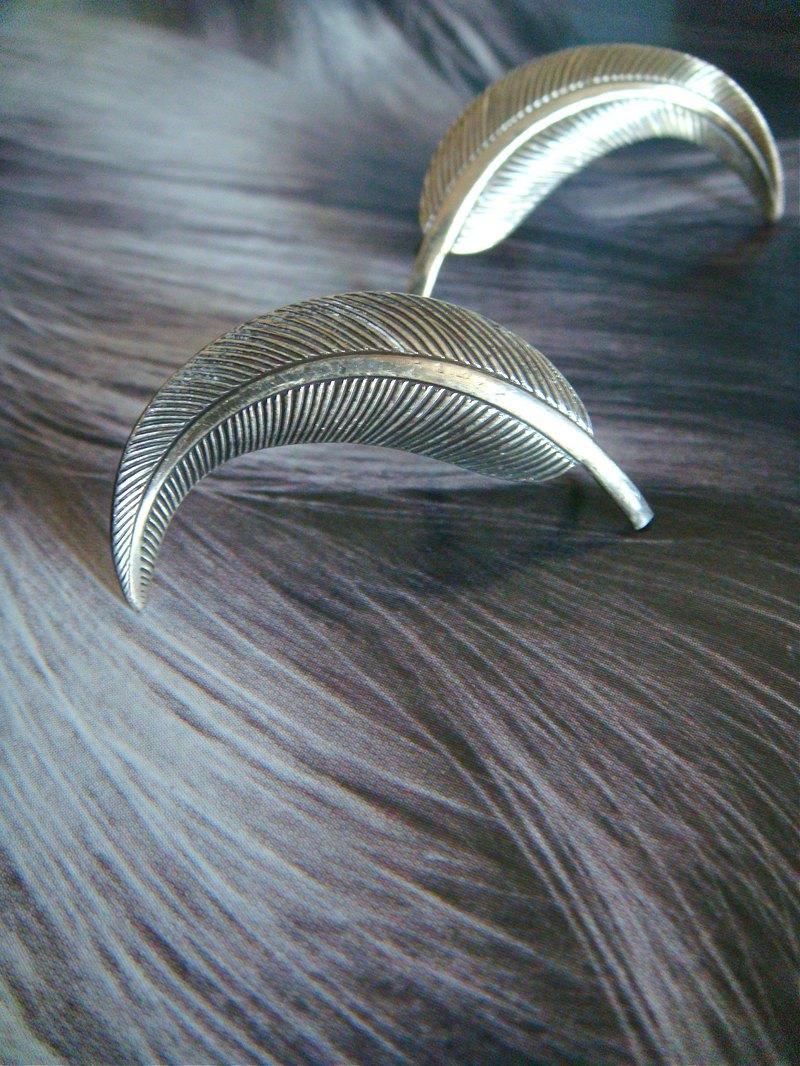 西洋古董 BEAU 純銀羽毛夾式耳環 簡約設計 VINTAGE 早期珠寶飾品