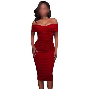 ミディドレス女性のセクシーなオフショルダーボディコンドレス (Color : Red, Size : XL)