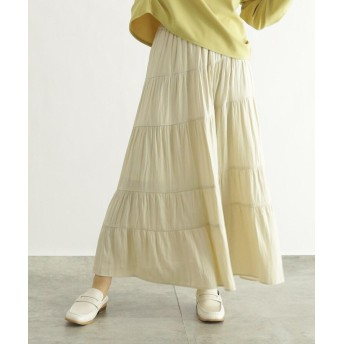 OZOC(オゾック) [洗える]サテンティアードスカート