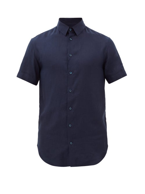 Giorgio Armani - Short Sleeve Linen Shirt - Mens - Navy