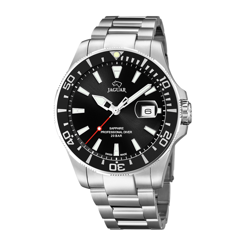 瑞士JAGUAR | 經典銀款潛水錶Executive (黑面) - J860/4