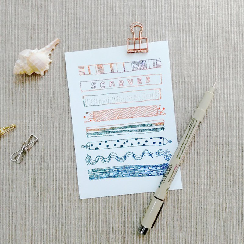 這些日子・暖暖圍巾 - 手繪插畫明信片・文創卡片