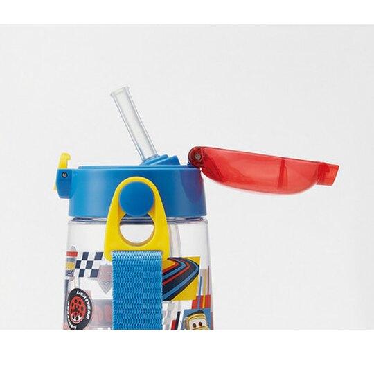 小禮堂 迪士尼 玩具總動員 透明彈蓋吸管水壺附背帶《綠藍.格圖》480ml.兒童水壺.水瓶