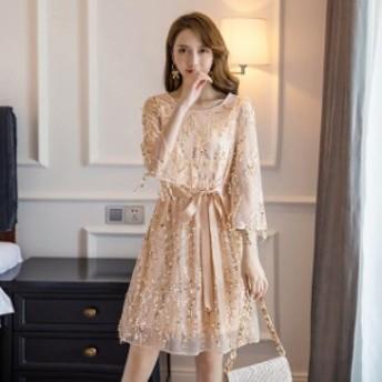 M~5L パーティー 結婚式 出かけ 印象的 キラキラスパンコール タッセル ドレス ワンピース
