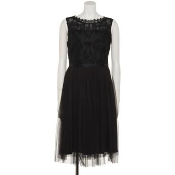 70%OFF INTERPLANET (インタープラネット) シアー刺繍レース切替チュールプリーツ加工ドレス ブラック
