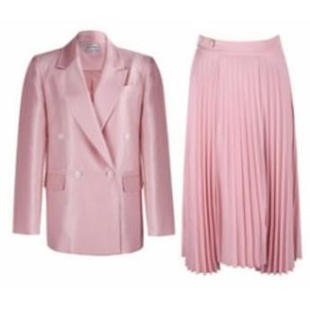 スーツセットアップ/ピンク/セミピークドラベルジャケット+プリーツスカート 送料込み