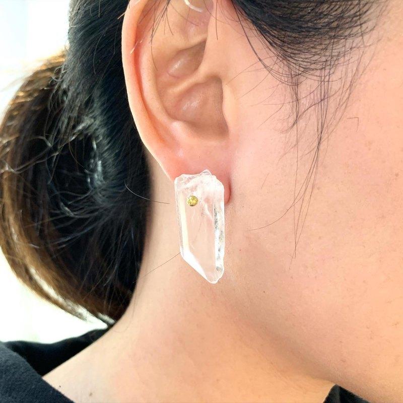獨家_Big冰糖透明色石英石水晶貼式耳環_可免費修改成夾式耳環