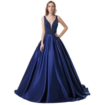 Jtydj 女性のための秋と冬のセクシーなディープVネックシフォンロングイブニングドレス (色 : 青, サイズ : US6)