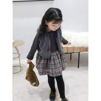 女児 冬服 韓国風 フェイクファー 手厚い ベスト 裏起毛 + グリッ