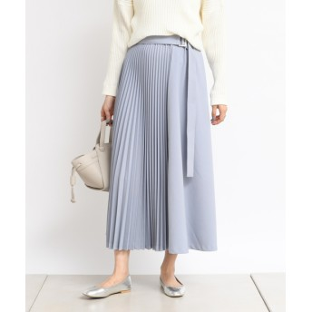 DOUDOU(ドゥドゥ) レディース ベルト付きプリーツ切替スカート ブルー