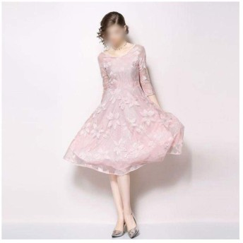 Jtydj セクシーなVネックピンクレース7点スリーブスリムエレガントな長袖のドレス (色 : ピンク, サイズ : S)