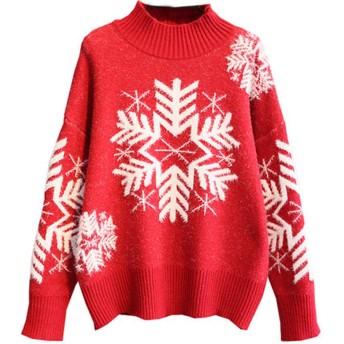 クリスマスレッドショート厚いプルオーバーセーター女性ルーズスノーフレークハーフハイカラーボトミングシャツコート、クリスマス漫画パター
