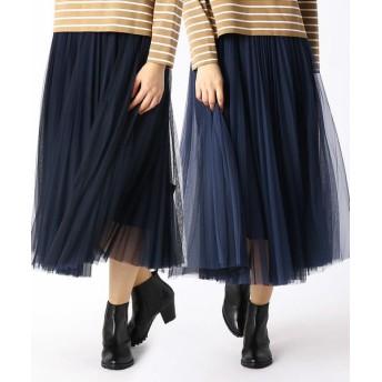 COMME CA/コムサ リバーシブル ソフトチュール プリーツスカート ネイビー×ブルー 7号