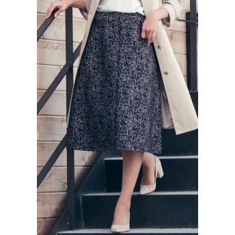 ketty ケティ ≪洗濯機で洗える≫ラインフラワージャガードスカート その他 スカート,ネイビー