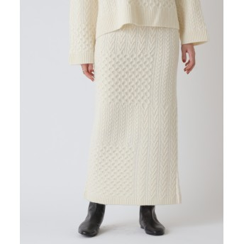BEARDSLEY(ビアズリー) レディース ケーブルパッチワークニットスカート ホワイト