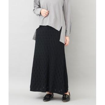 Chez toi(シェトワ) レディース ☆【リーフ柄編み】ニットロングスカート ブラック