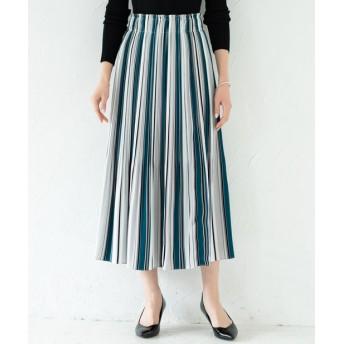 Loungedress(ラウンジドレス) レディース マルチストライププリーツスカート ブルー
