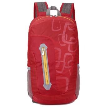 BAJIMI ハイキングバックパック、学生のバックパック、スキンバッグライトアウトドアバックパックファッション旅行スポーツ学生バッグ折りたたみ防水登山バッグ、レッド